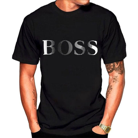 Fashion Boys Mens Casual Round Neck T-shirts Boss Letters Printing  Short Sleeve Tee Cotton Tops