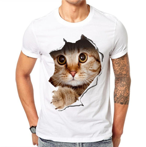 Men's T Shirt Men T Shirt Cute Cat Cartoon Printed T Shirts Summer Casual High Quality Hipster Tee Shirts Men