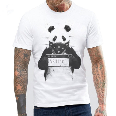 New Summer Men Cool Style White Summer Gangster Panda Printed T Shirt Blouse Homme Casual Tops Funny T-Shirt Tee