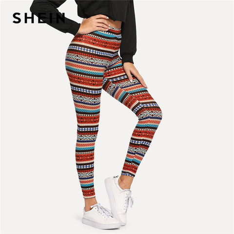SHEIN Multicolor High Waist Tribal Print Leggings Sporting Stretchy Long Trousers Women Autumn Highstreet Athleisure Pants