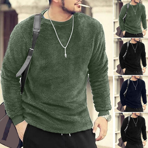 Men Autumn Winter Casual O-Neck Loose Double-Sided Plush Tops Blouses T-shirt