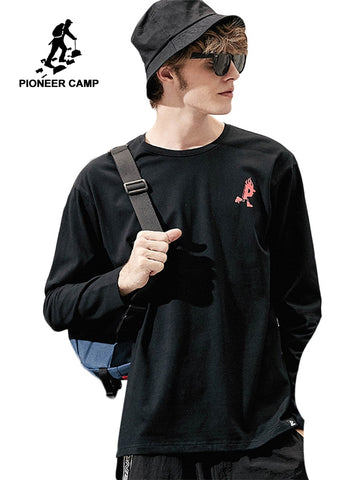 Pioneer camp new autumn long sleeve t shirt men brand clothing casual print tshirt male quality pure cotton tees black ACT801280