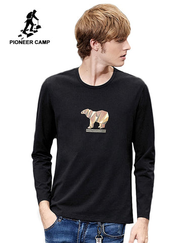 Pioneer camp new long sleeve tshirt men brand clothing casual bear printed t-shirts male autumn cotton stretch tees ACT802226