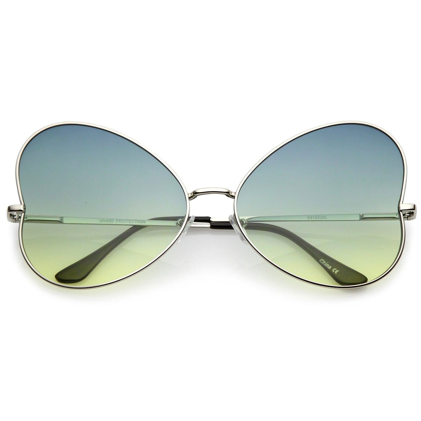 Women's Oversize Ultra Slim Temple Gradient Flat Lens Butterfly Sunglasses 61mm (Silver / Green-Yellow) - shoppingandfreebies