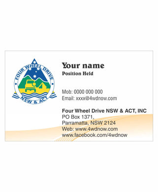 4WD NSW ACT INC Business Cards 100pk - Clever Club Products