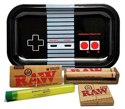 Bundle - 5 Items - RAW King Size Supreme, 110 Roller and Pre-rolled Tips with Rolling Paper Depot Rolling Tray (Controller) and Doobtube