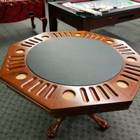 "3 in 1 Game Table - 48"" Octagon Poker/Bumper/Dining in Antique Walnut"