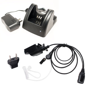 Motorola MTX1000 Charger, FBI Earpiece with Push to Talk (PTT) Microphone Replacement & EU Adapter