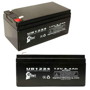 2-Pack UB1234 Sealed Lead Acid Battery Replacement (12V, 3.4Ah, F1 Terminal, AGM, SLA)