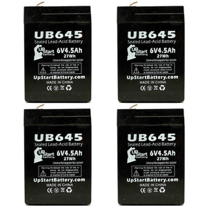 4-Pack UB645 Sealed Lead Acid Battery Replacement (6V, 4.5Ah, F1 Terminal, AGM, SLA)