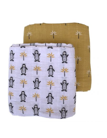 2 Pack Fresk Organic Swaddle Set [it] Set 2 mussoline bio da Fresk