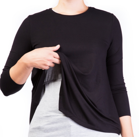 Double layer nursing top Black&Grey [it] Maglietta per allattamento nero e grigio