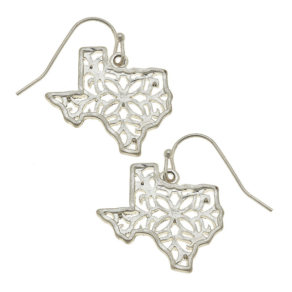 Texas Filigree State Earring in Worn Silver by Crave