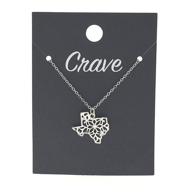 Texas Delicate Filigree State Necklace in Worn Silver by Crave