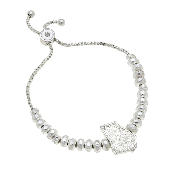 Georgia Filigree State Beaded Bolo Bracelet in Worn Silver by Crave