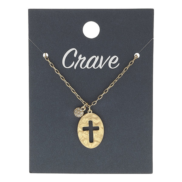 Cut Out Cross Delicate Charm Necklace in Worn Gold by Crave