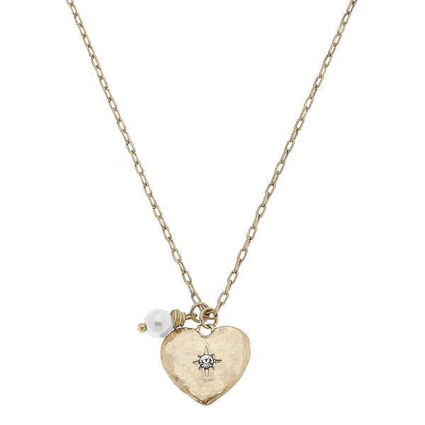 "Heart ""Love"" Etched Delicate Charm Necklace in Worn Gold by Crave"