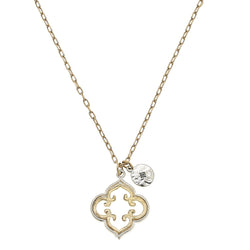 Quatrefoil Circle Delicate Charm Necklace in Worn Gold and Silver by Crave