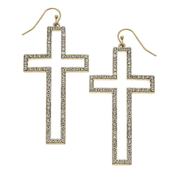 Cross Pave Drop Earring in Worn Gold by Crave