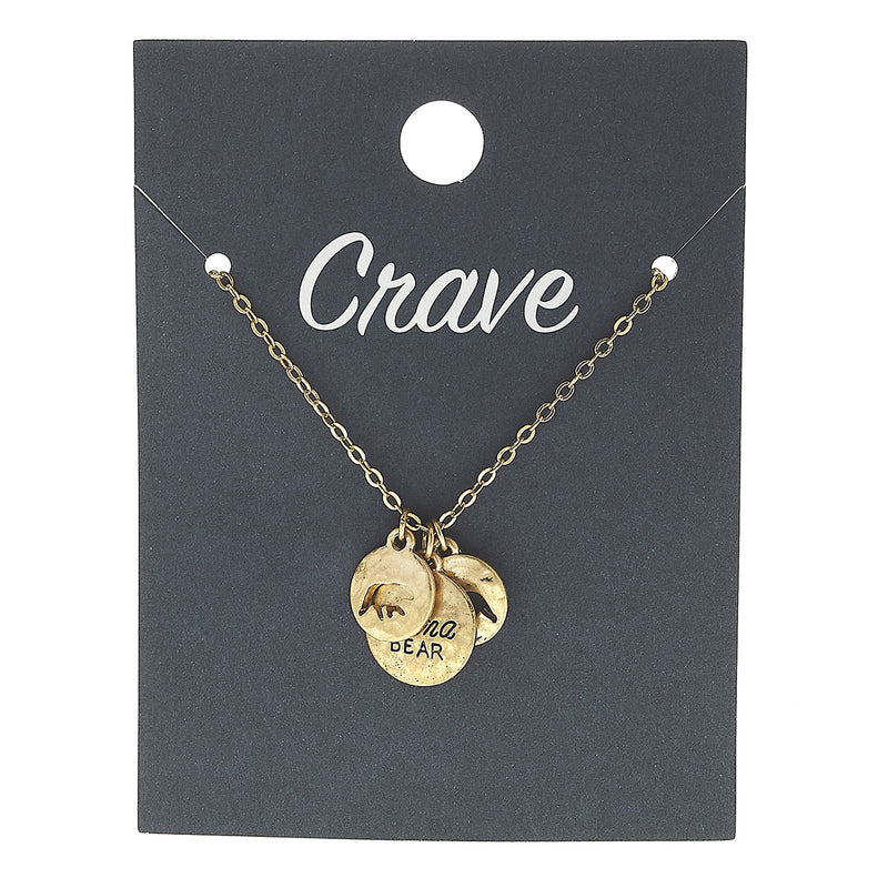 """Mama Bear"" Charm Necklace in Worn Gold by Crave"