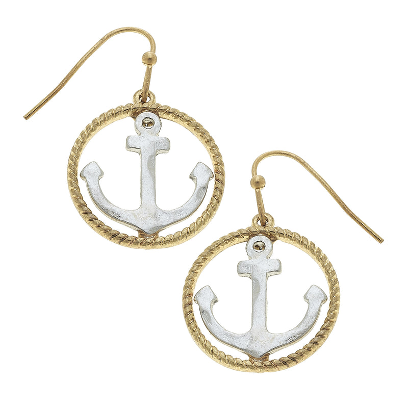 Anchor Open Circle Drop Earring in Worn Silver by Crave