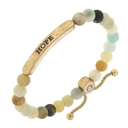 """Hope"" Amazonite Bolo Bracelet in Worn Gold by Crave"