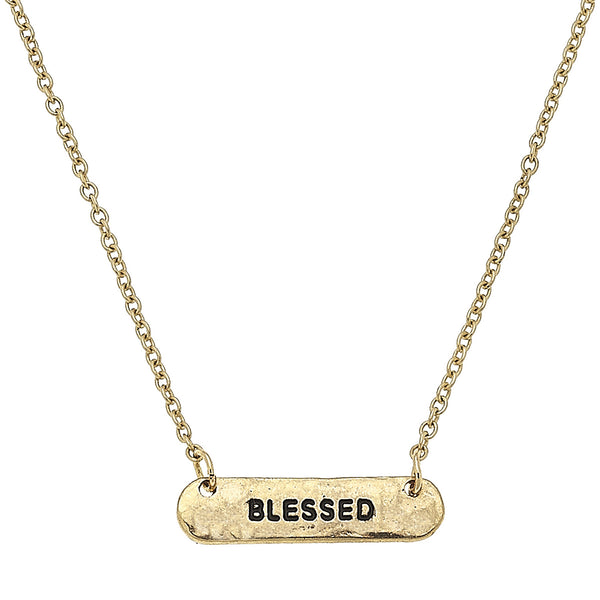 "Bar ""Blessed"" Necklace in Worn Gold by Crave"