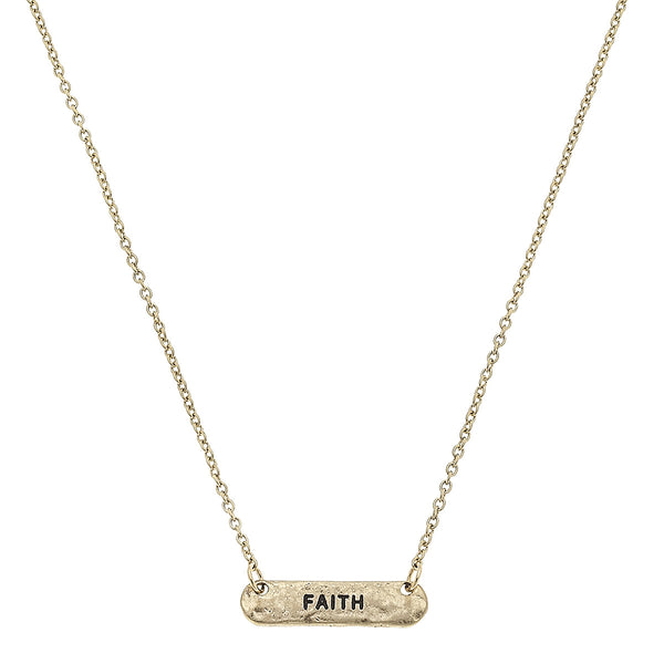 "Bar ""Faith"" Necklace in Worn Gold by Crave"