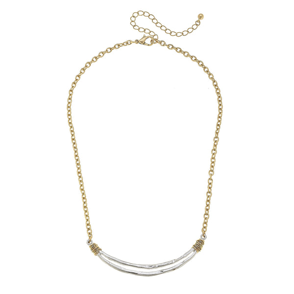 18861N Wire Wrapped Open Curved Bar Necklace by Crave