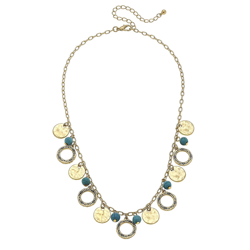 Western Discs and Turquoise Bead Necklace in Worn Gold by Crave
