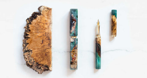 stages of wooden resin fountain pen