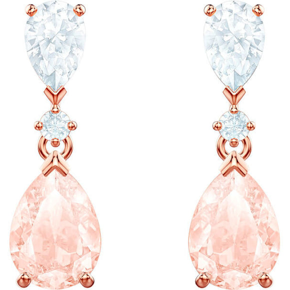 SWAROVSKI VINTAGE PIERCED EARRINGS, PINK