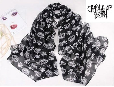 Skull Queen Scarf  - Cradle Of Goth