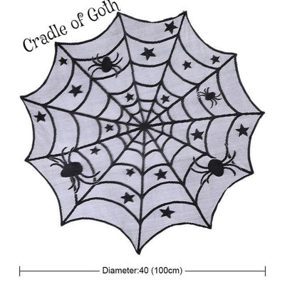Round Spider Web Tablecloth Default Title - Cradle Of Goth