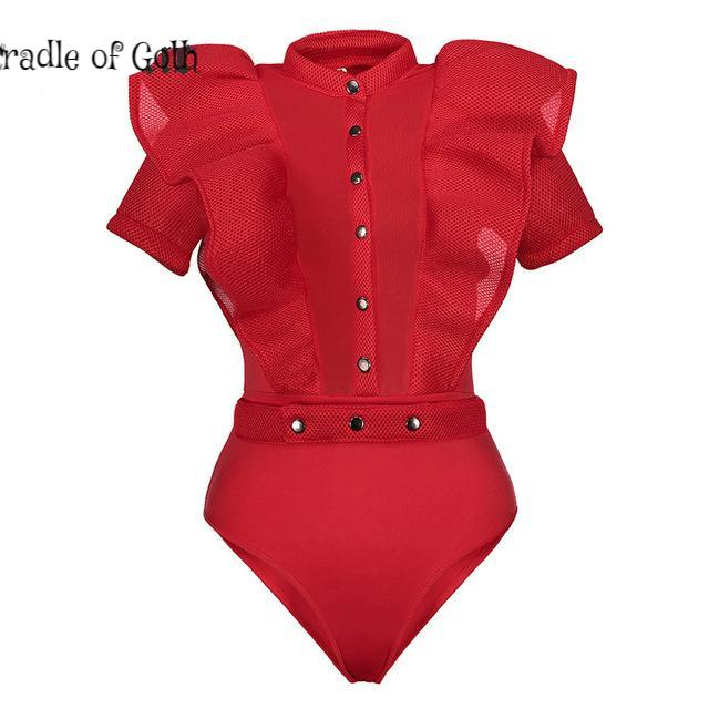 Victorian Bodysuit red / S - Cradle Of Goth
