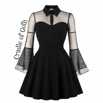 Vampire Dress (plus sizes available) Black / S - Cradle Of Goth