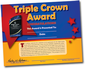 Triple Crown Award Certificate