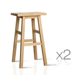 Set of 2 Wooden Backless Bar Stool - Natural