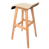 Set of 2 Beech Wood Backless Bar Stool - Beige