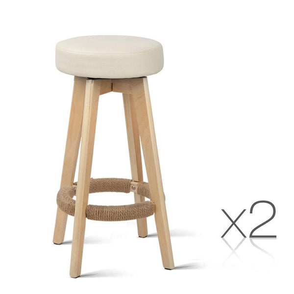 Set of 2 PU Leather Round Bar Stool - Beige