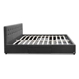 Grace Collection Queen Size Bed Frame With 4 Storage Drawers Fabric Wood In Charcoal