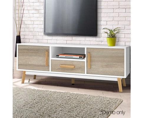 Entertainment Unit Scandinavian TV Stand Home Cabinet Storage 120cm White And Wood
