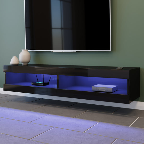 150 cm LED Lighting 12 Colours Floating Entertainment Unit - Black