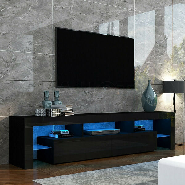200cm TV Stand Cabinet 2 Drawers LED Entertainment Unit Wood - Black