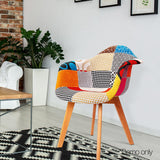 2 X Fabric Dining Chairs Home Cafe Kitchen Beech
