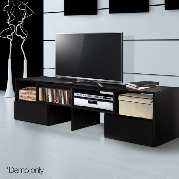 TV Stand Entertainment Unit Corner Adjustable Benches Cabinet Black