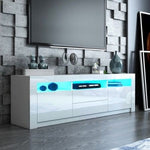 160cm Wood TV Entertainment Unit High Gloss Furniture w/2 Drawers 2 Doors White