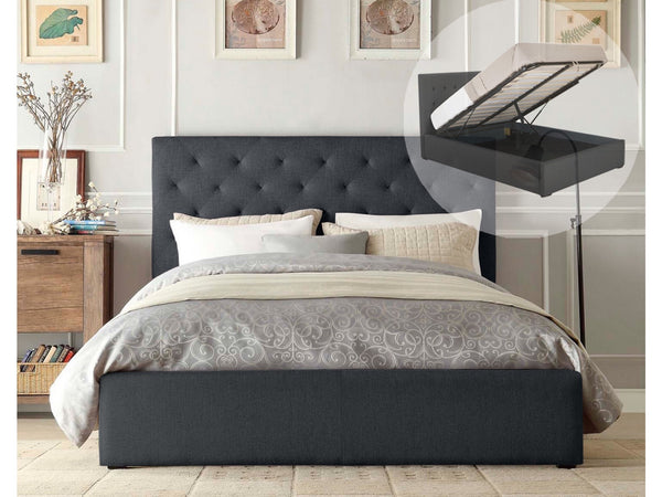 Grace Collection Queen Size Gas Lift Fabric Bed Frame Charcoal