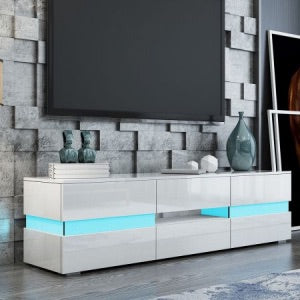 TV Stand Cabinet 177cm Wood Entertainment Unit LED Gloss Storage Drawer - White