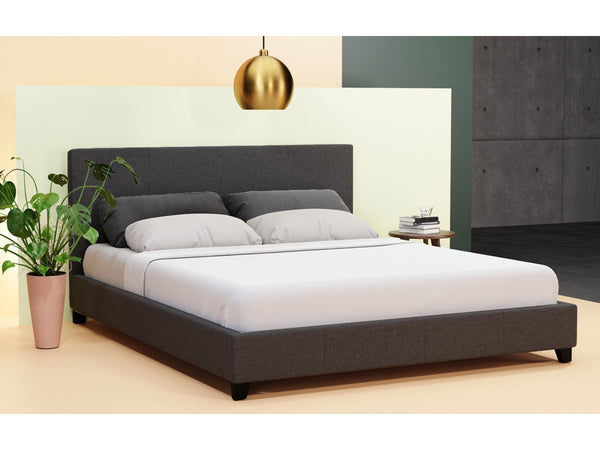 Grace Collection Queen Size Fabric Bed Frame Charcoal